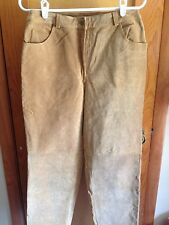 Metrostyle Camel Brown Suede Leather Pants Womens Size 10
