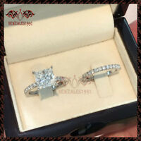 2Ct Princess-Cut Diamond Solitaire Bridal Set Engagement Ring 10K White Gold