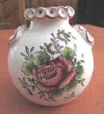 petit pot vase en faïence de Clamecy Roger Colas décor fleurs bibelot miniature