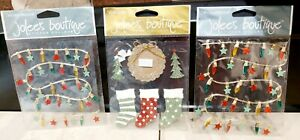 JOLEE'S BOUTIQUE STICKERS - Christmas Stockings & trees & lights x 3 Bundle of 3