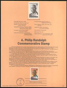 US. SP843. 2402. 25c. A. Philip Randolph. Black Heritage. Souvenir Pages.1989