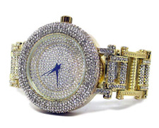 Ultra bling faux diamond Orbit Gold plated HipHop Bling Watch