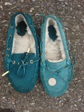 Turquoise leather suede mocassins mocasins moccasins shoes teal women's 7
