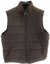 New Mens Large Brown Weatherproof Garment Co Reversible Microsuede Fleece Vest