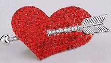 Love Heart & Cupid Arrow Stretch Ring Red-silver Crystal Rhinestone Fashion RD51