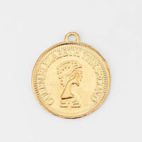 20pcs Gold Tone QUEEN ELIZABETH THE SECOND Coin Round Charms Pendants 20mm