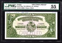 Tonga 10 Shillings SPECIMEN Proof Note ND 1950 P. 10 /10sp PMG 55 AU RARE