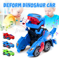 Kids Electric Deform Transforming Dinosaur Car Toy Music Flashing Lights