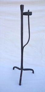 """Antique Large 20"""" Rush Light Candle Holder French Wrought Iron 18th C"""