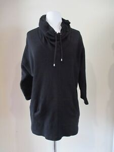 STYLE & CO black thermal drawstring large collar hoodie top  PLUS sz 2X  ++