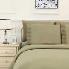 3pc Duvet Cover Set, Ultra Soft Cover for Comforter, Natural Bamboo, Pleated.