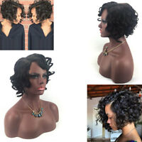 100% Brazilian Virgin Human Hair Short Bob Curly Full Lace Wig Lace Front Wig*