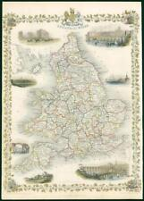 "1850 Original Antique Map ""ENGLAND & WALES"" by TALLIS - FULL COLOUR (TC2)"