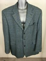 "MENS GREIFF BLUE YELLOW PLAID SMART FORMAL BUTTON UP SUIT JACKET BLAZER 51""CHEST"
