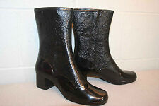 Rain Boot Fits 7 N NOS Vtg 60s 70s MOD Winterproofs Waterproof Shiny Black SHOE