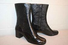 "Rain Boot Fits 7 N Nos Vtg 1960s 11""Tall Waterproof Rubber 60s 70s Black Shoe"