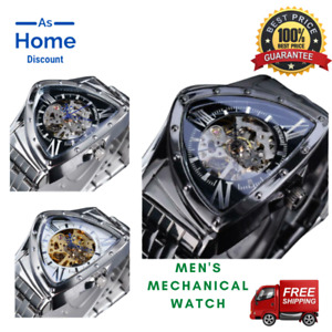 Skeleton Triangle Wristwatch Men's Stainless Steel Automatic Mechanical Watches