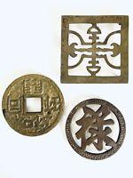 Vintage Set Of 3 Asian Symbolic Solid BrassTrivets Hotplate Boho Décor