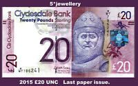 real 2015 Clydesdale Bank £20 Twenty Pound UNC last paper issue banknotes