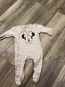 Baby Girl Grey Minnie Mouse Cotton Babygrow 3-6 Months