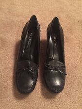 Nine and Company Women's Black Leather Heels Shoes Sz 7 1/2 M