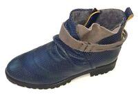 DKODE Seven Damen Schuhe Stiefel Stiefelette Leder blau