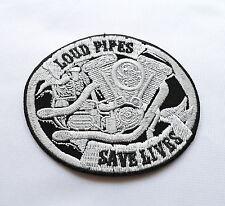 Loud Pipes Save Lives,Aufnäher,Aufbügler,Chopper,Biker,Iron On,Harley Motor,Evo