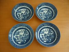 SET OF 4 VINTAGE CHURCHILL ENGLAND BLUE WILLOW COUPE CEREAL BOWLS