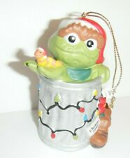 Oscar the Grouch Sesame Street Porcelain Christmas Ornament Slimey the Worm 1997