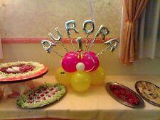 COMPOSIZIONE CENTROTAVOLA con NOME palloncini  festa compleanno battesimo