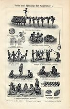 Antique print games toys Indigenous people 1910 toy