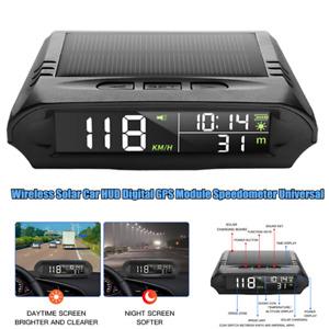 Wireless Solar Car HUD Head Up Display Digital GPS Module Speedometer Universal