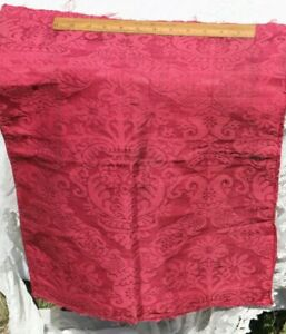 """French Antique 18thC c1770 Red Frame Damask Home Dec Silk~L-22.5"""" X  W-17.5"""""""