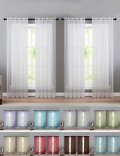 4 Pack Basic Home Sheer Voile Window Curtains - Assorted Sizes & Colors