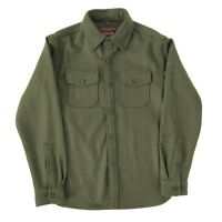 Schott Olive Green NYC CPO Wool Blend Over Shirt Work Jacket, Size Small