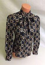 BANANA REPUBLIC Black Silk Tie Blouse Women's Size XS