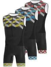 Hombre Triatlón Tri Suit Acolchado Compresión Correr Natación Ciclismo Mono