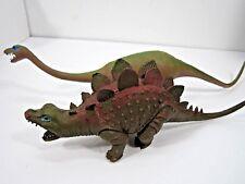 Vintage Lot Of Hard Vinyl Dinosaur Toys Brontosaurus & Stegosaurus Aaa Hong Kong