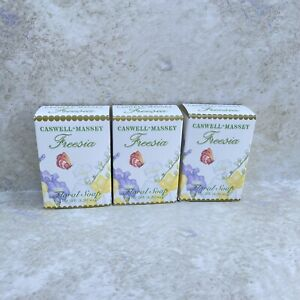 3 New Boxes Caswell & Massey Freesia Floral Soap Body Bar 3.25 Oz Each USA Made