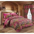 7 PC QUEEN SIZE HOT PINK FUSCHIA CAMO COMFORTER WITH SHEETS PILLOWCASES WOODS