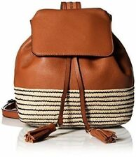 REBECCA MINKOFF MANSFIELD BROWN LEATHER WOVEN CONTRAST BACKPACK $295