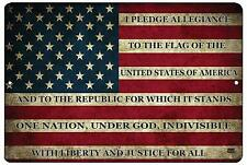 USA American Flag Metal Tin Sign Wall Decor Man Cave Bar US Pledge of Allegiance