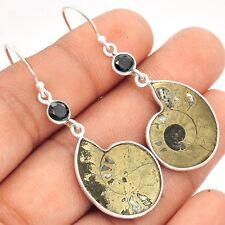 Fossil Pyrite Ammonite & Black Onyx 925 Sterling Silver Earrings Jewelry SE96196