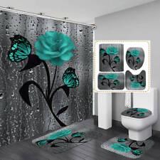 3D Butterfly Rose Door Bath Mat Toilet Cover Rug Shower Curtain Bathroom Decor