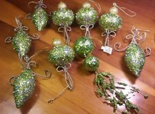 9 Vintage RAZ Imports Finial Shaped Green Sparkle w/ Silver Christmas Ornaments