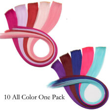 10PCS/set Multi Color Highlight Streaks Hairpiece Clip in Hair Extensions Pink