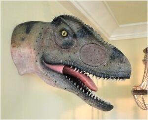Allosaurus Dinosaur Head Wall Mounted Jurassic Park Sculpture 24 Inch Statue