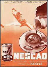 PUBBLICITA' 1933 NESCAO NESTLE' CACAO SPORT ATLETA CIOCCOLATO SCATOLA LATTA FOOD