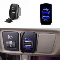 Car Suv Boat USB Dual Port Charger Socket ARB Jack Switch 12V-24V Blue LED Light