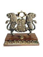 Antique Solid Brass Menorah Judaica Jewish Star of David Hanukkah Lion Wood Base